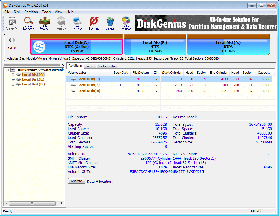 DiskGenius Free full screenshot