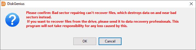 Bad sector repair software - DiskGenius