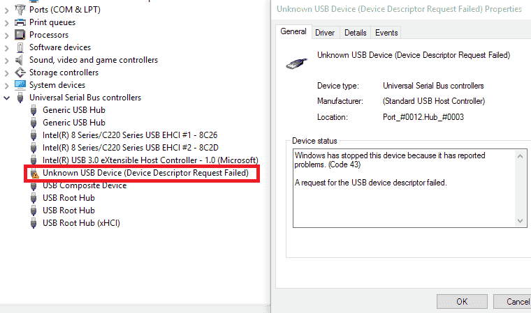 Fixed - Unknown USB device (Device Descriptor Request Failed) in Windows
