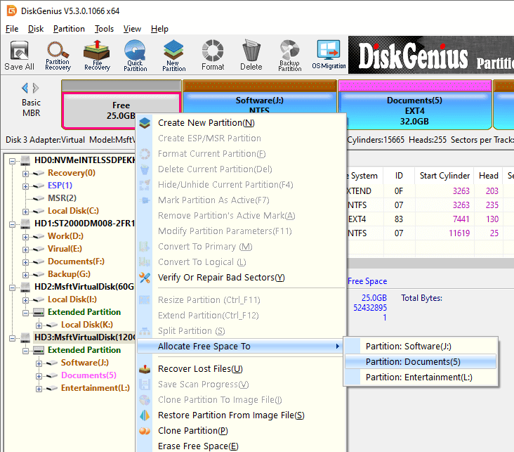 How to Add Unallocated Space to Partition without Data Loss - DiskGenius