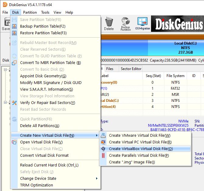 Create VirtualBox Virtual Disk (VDI) File - DiskGenius