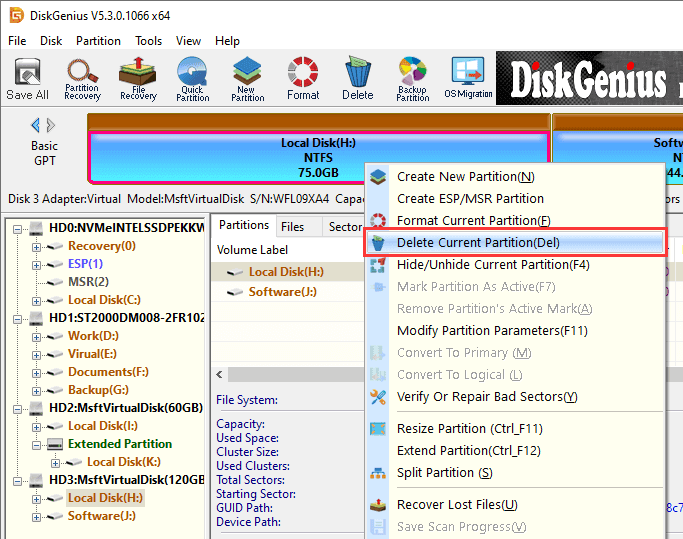 Remove partition windows 10